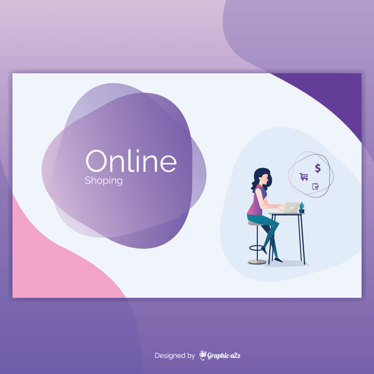 online shopping concept with template free vector on graphic-a2z