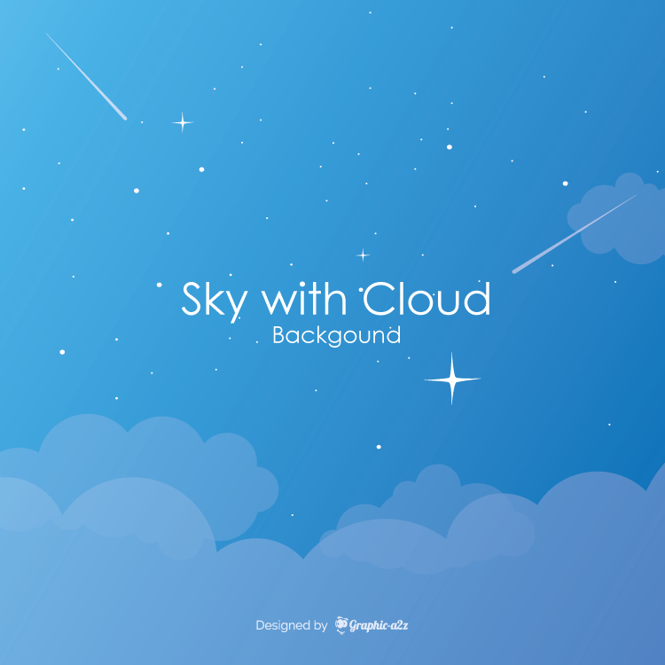 Cloudy sky background in flat style on Graphic a2z