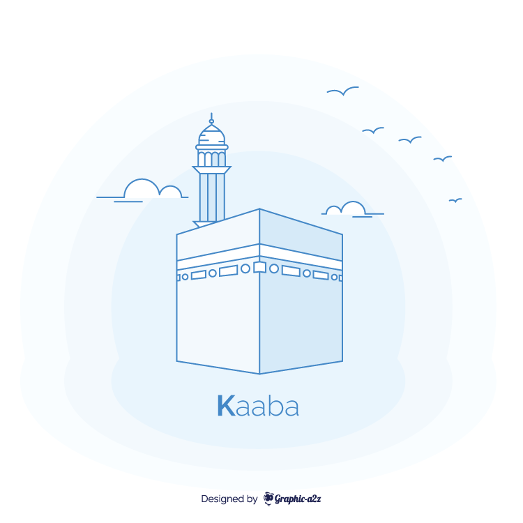 Kaaba muslim religious place monument vector