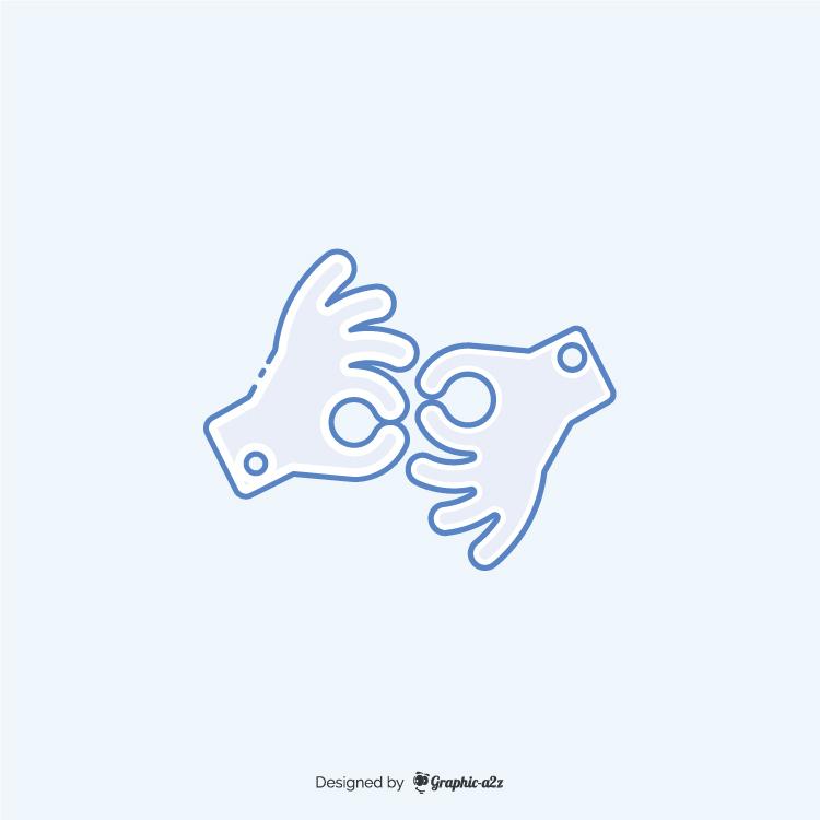 American sign language interpreting icon blue