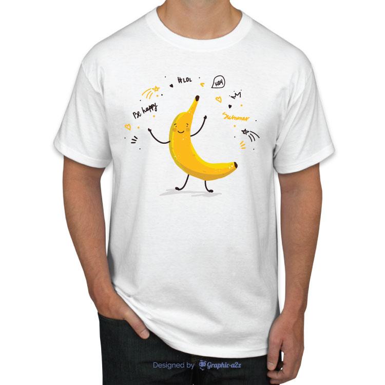 Banana fruit cute cartoon doodle sketch t-shirt white